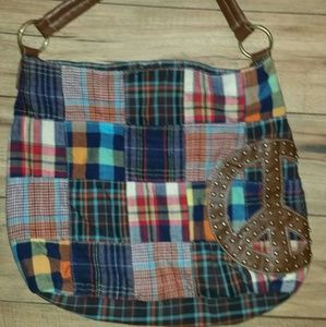 Plaid  peace embroidered bag